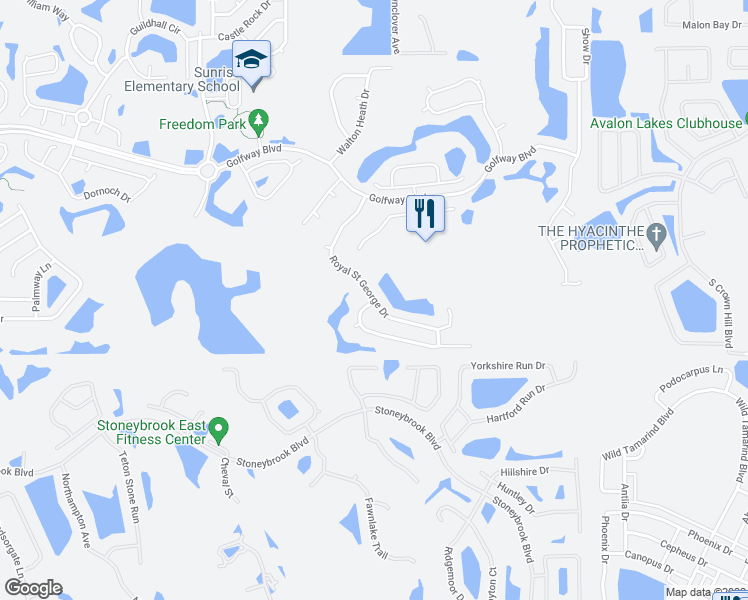 map of restaurants, bars, coffee shops, grocery stores, and more near 1294 Royal Saint George Drive in Orlando