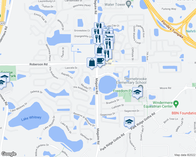 map of restaurants, bars, coffee shops, grocery stores, and more near 230 Jordan Rose Avenue in Ocoee
