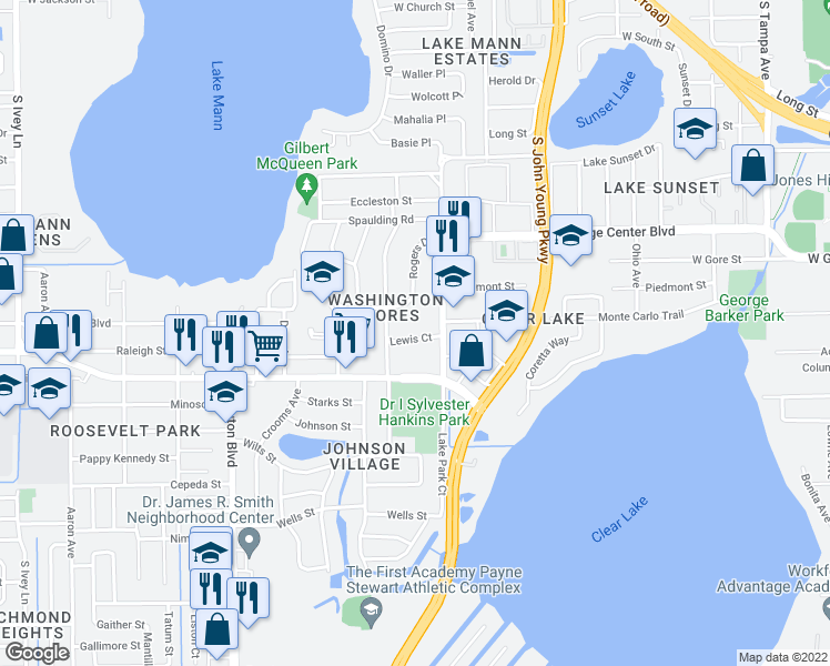 map of restaurants, bars, coffee shops, grocery stores, and more near 3325 Lewis Court in Orlando