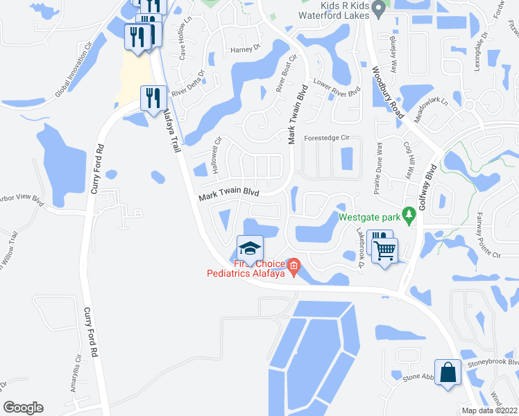 map of restaurants, bars, coffee shops, grocery stores, and more near 12633 Castlemain Trail in Orlando