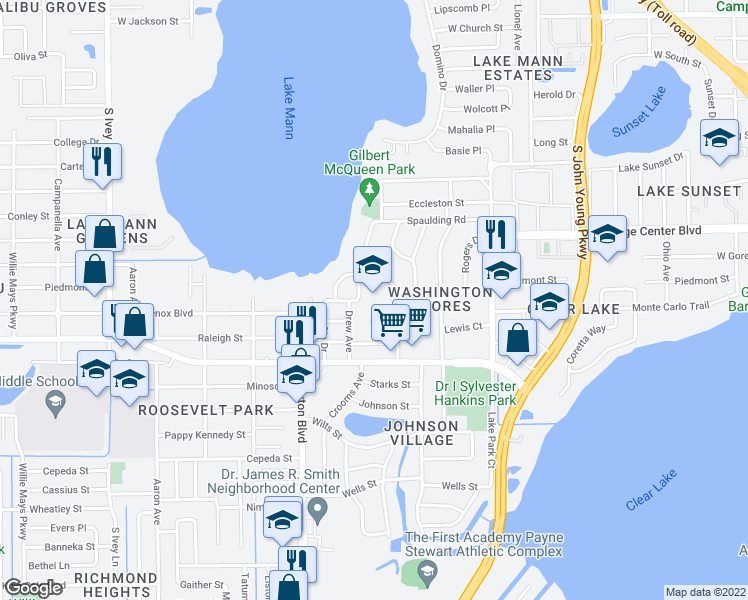 map of restaurants, bars, coffee shops, grocery stores, and more near 963 Drew Avenue in Orlando