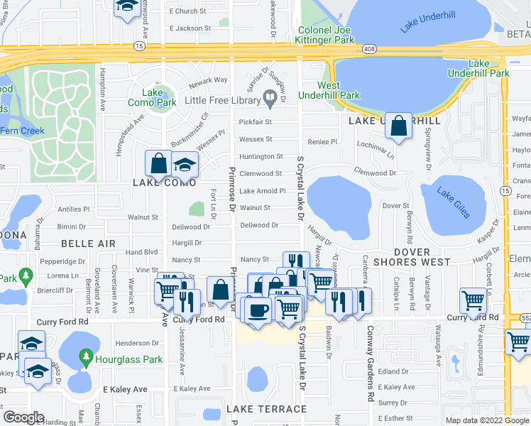 map of restaurants, bars, coffee shops, grocery stores, and more near 2918 Walnut Street in Orlando