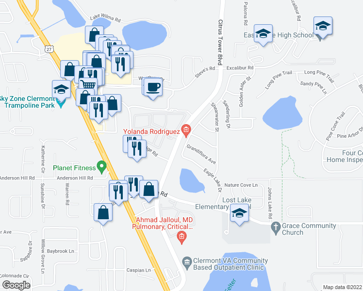 map of restaurants, bars, coffee shops, grocery stores, and more near 2550 Citrus Tower Boulevard in Clermont