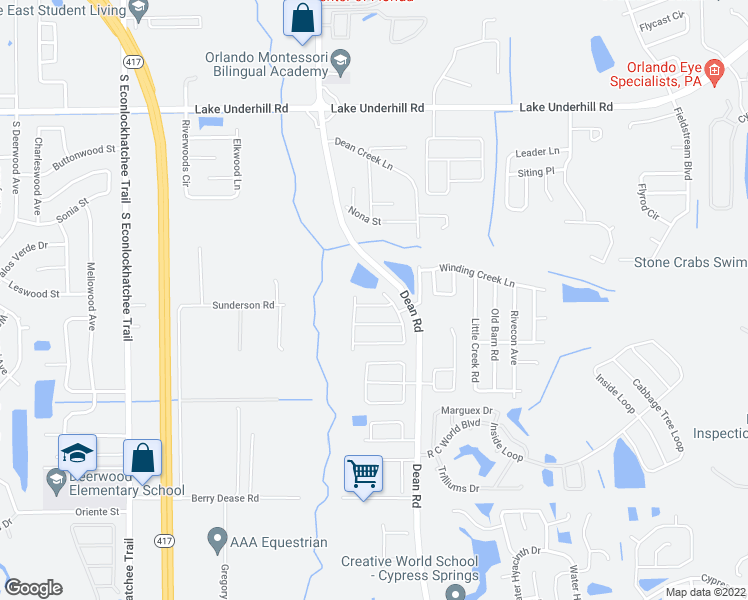 map of restaurants, bars, coffee shops, grocery stores, and more near 10019 Little Teak Street in Orlando