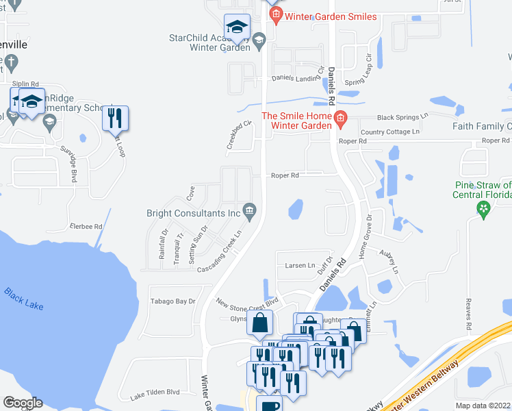 map of restaurants, bars, coffee shops, grocery stores, and more near 517 Cascading Creek Lane in Winter Garden