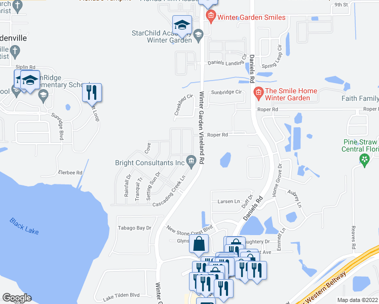map of restaurants, bars, coffee shops, grocery stores, and more near 558 Cascading Creek Lane in Winter Garden