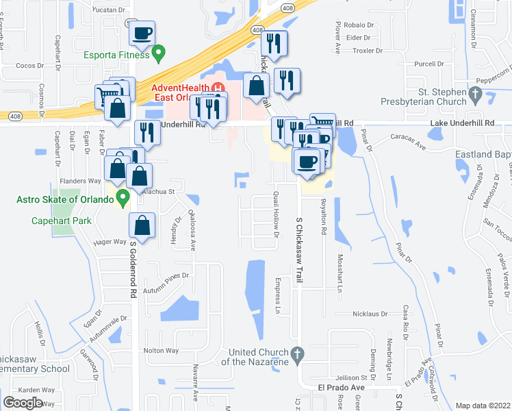map of restaurants, bars, coffee shops, grocery stores, and more near 8025 Woodduck Drive in Orlando