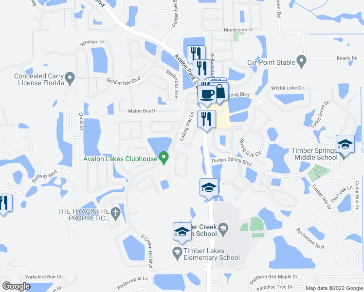 map of restaurants, bars, coffee shops, grocery stores, and more near 14042 Evening Sky Place in Orlando