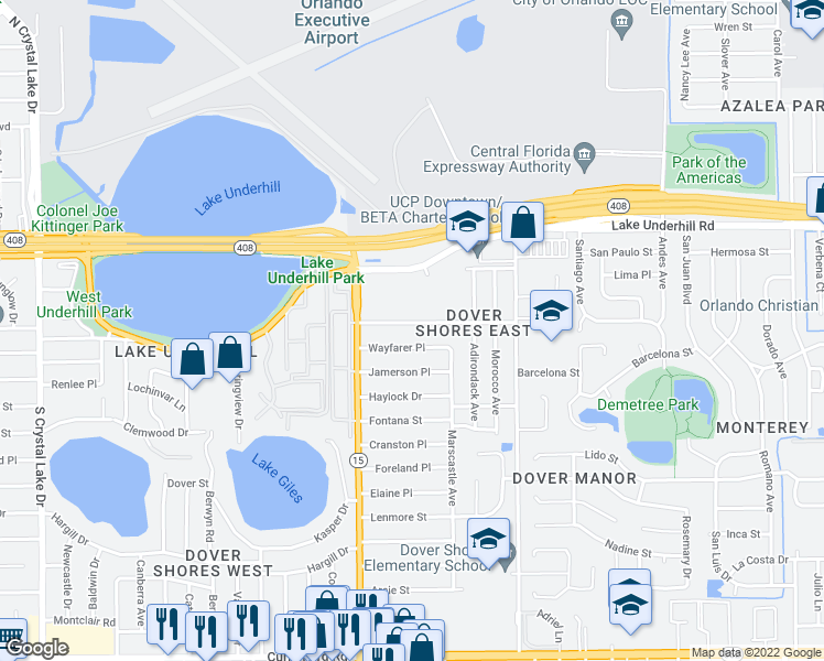 map of restaurants, bars, coffee shops, grocery stores, and more near 4709 Rockledge Road in Orlando