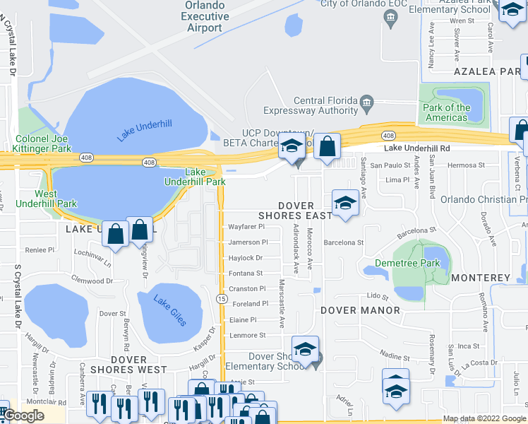 map of restaurants, bars, coffee shops, grocery stores, and more near 4613-4617 Rockledge Road in Orlando