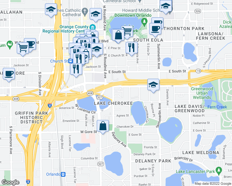 map of restaurants, bars, coffee shops, grocery stores, and more near 500 Delaney Avenue in Orlando