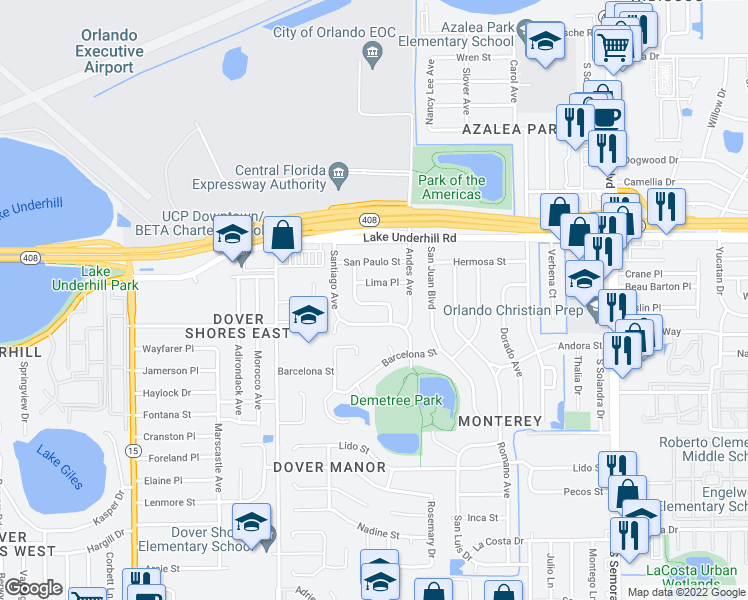 map of restaurants, bars, coffee shops, grocery stores, and more near 543 Obispo Ave in Orlando