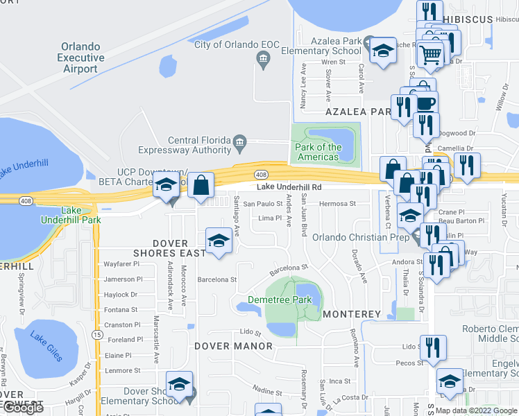 map of restaurants, bars, coffee shops, grocery stores, and more near 5211 Lima Place in Orlando