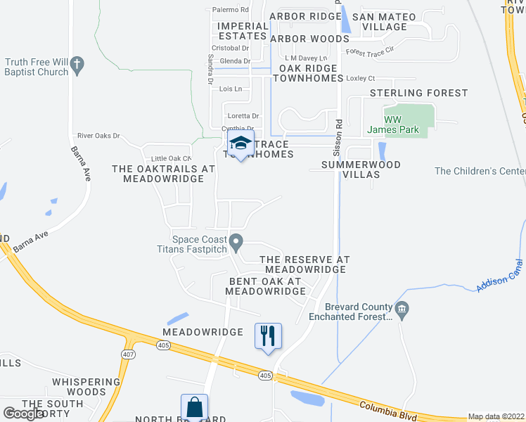 map of restaurants, bars, coffee shops, grocery stores, and more near 5592 River Oaks Drive in Titusville