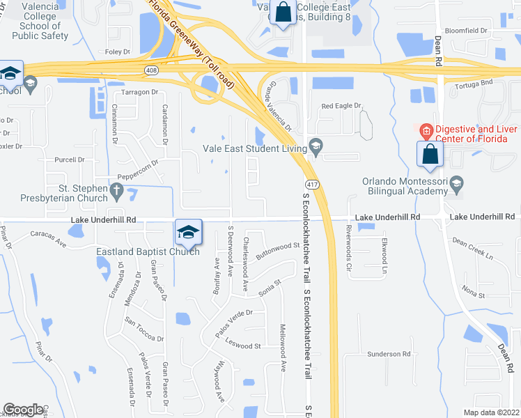 map of restaurants, bars, coffee shops, grocery stores, and more near 290 Pine Arbor Drive in Orlando
