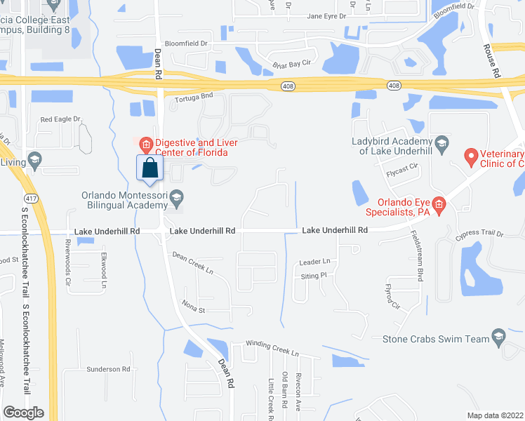 map of restaurants, bars, coffee shops, grocery stores, and more near 10317 Kalega Chase Court in Orlando
