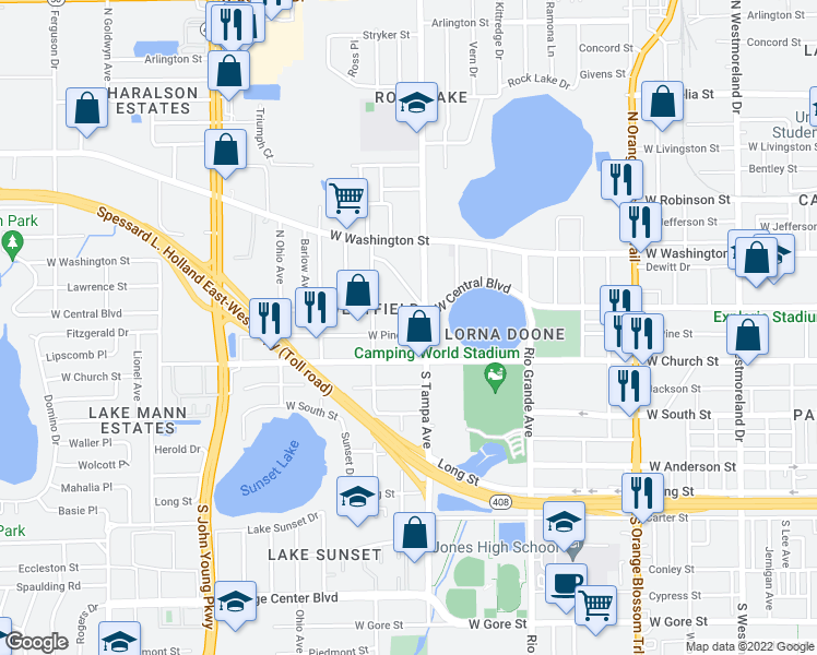 map of restaurants, bars, coffee shops, grocery stores, and more near 2015 West Pine Street in Orlando