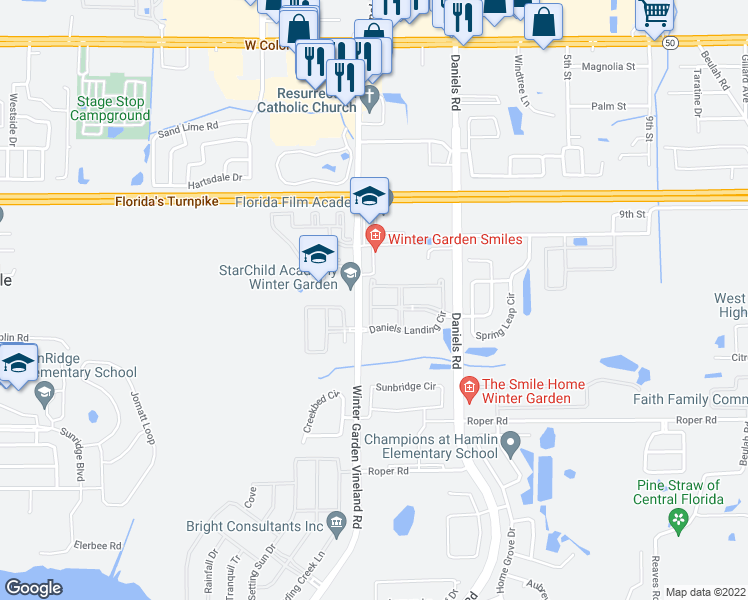 map of restaurants, bars, coffee shops, grocery stores, and more near 13357 Harbor Shore Lane in Winter Garden
