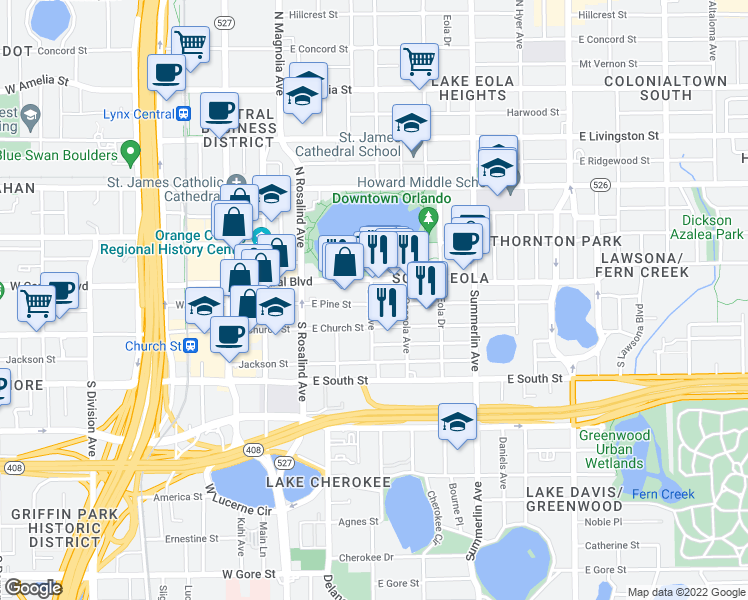 map of restaurants, bars, coffee shops, grocery stores, and more near 322 East Central Boulevard in Orlando