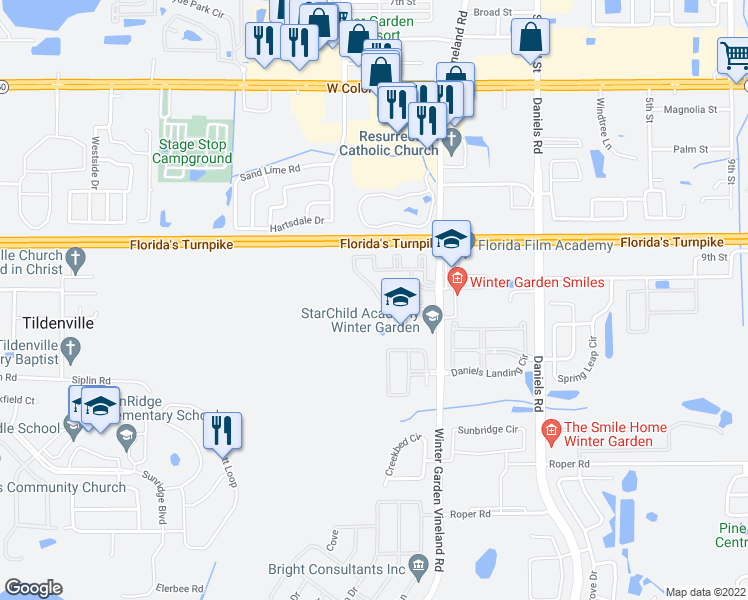 map of restaurants, bars, coffee shops, grocery stores, and more near 316 Southern Pecan Circle in Winter Garden