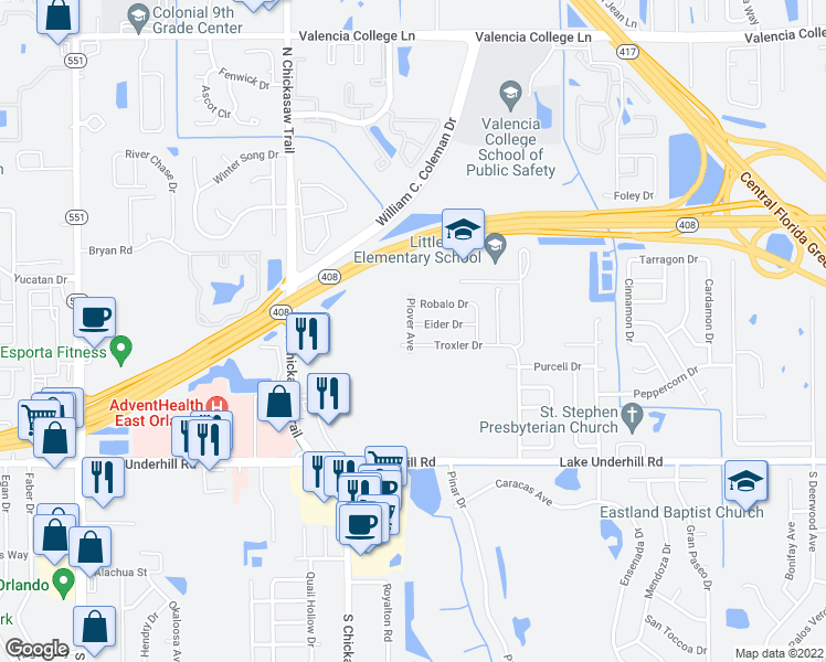 map of restaurants, bars, coffee shops, grocery stores, and more near 18-20 Plover Avenue in Orlando