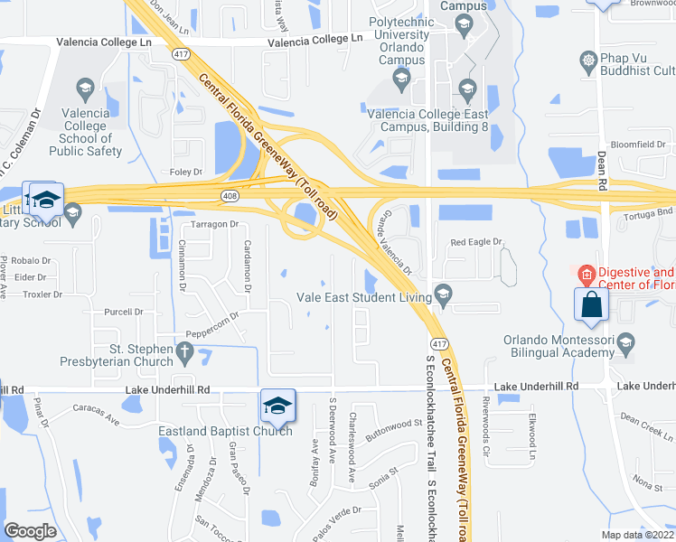 map of restaurants, bars, coffee shops, grocery stores, and more near 109 North Deerwood Avenue in Orlando