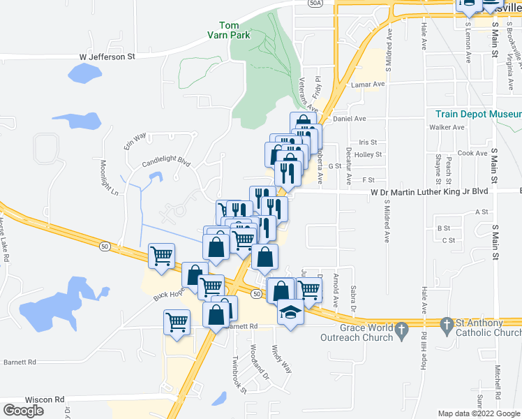 map of restaurants, bars, coffee shops, grocery stores, and more near 924 Candlelight Boulevard in Brooksville