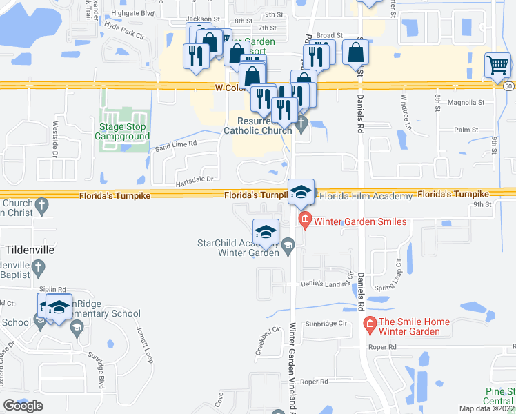 map of restaurants, bars, coffee shops, grocery stores, and more near Florida's Turnpike in Winter Garden