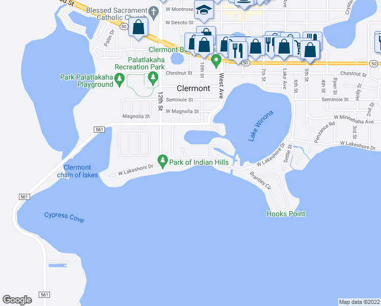 map of restaurants, bars, coffee shops, grocery stores, and more near 1068 West Lakeshore Drive in Clermont