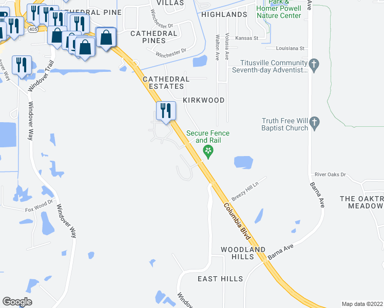 map of restaurants, bars, coffee shops, grocery stores, and more near 2300 Columbia Boulevard in Titusville