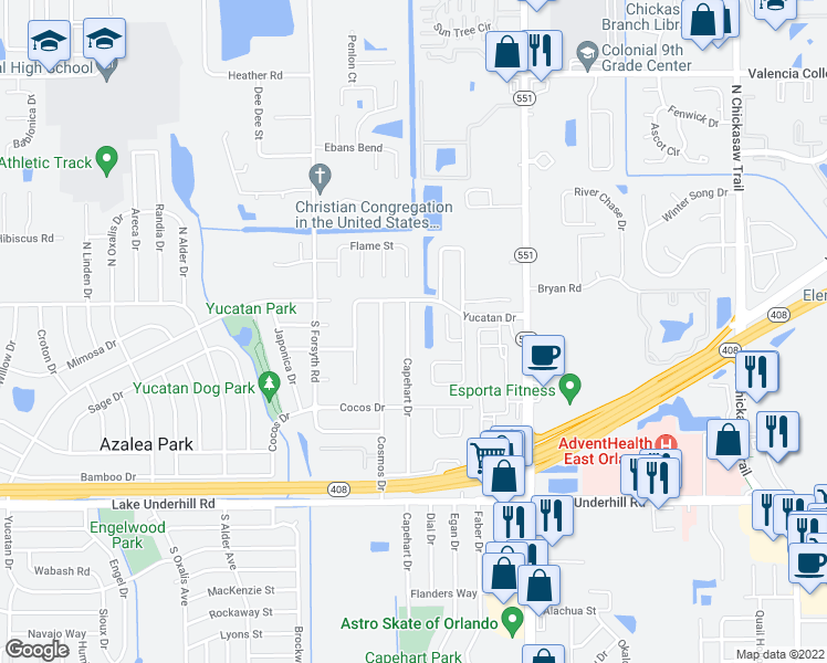 map of restaurants, bars, coffee shops, grocery stores, and more near 27 Capehart Drive in Orlando