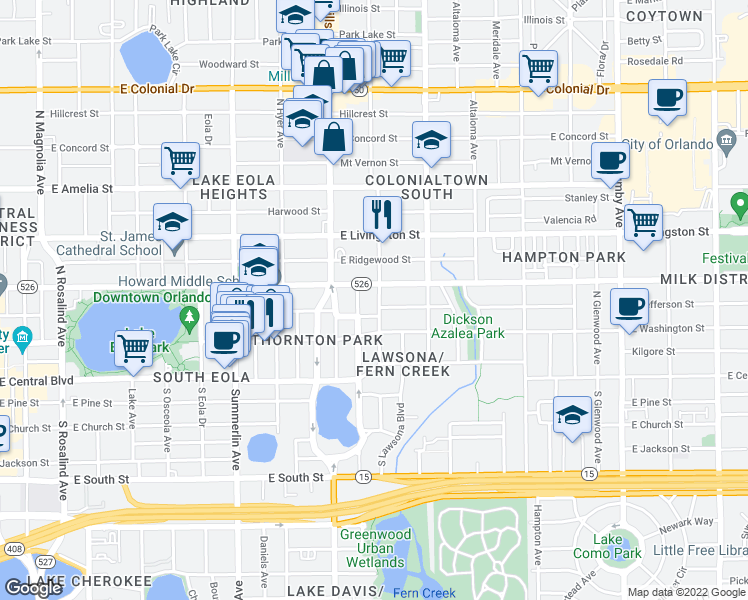 map of restaurants, bars, coffee shops, grocery stores, and more near 206 Shine Avenue in Orlando