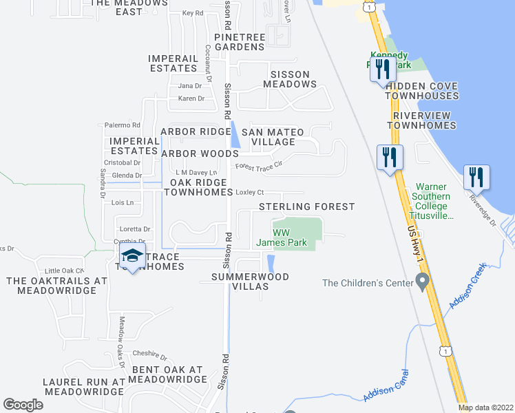 map of restaurants, bars, coffee shops, grocery stores, and more near 602 Marian Court in Titusville