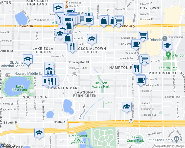 map of restaurants, bars, coffee shops, grocery stores, and more near 1617 East Robinson Street in Orlando