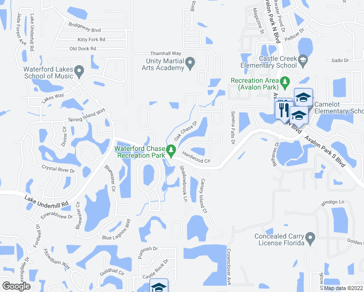 map of restaurants, bars, coffee shops, grocery stores, and more near 553 Hardwood Circle in Orlando