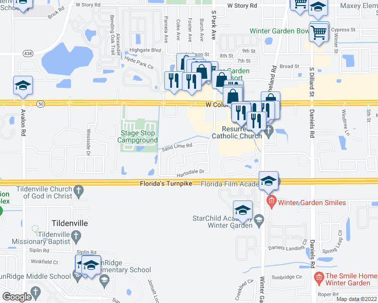 map of restaurants, bars, coffee shops, grocery stores, and more near 461 Sand Lime Road in Winter Garden