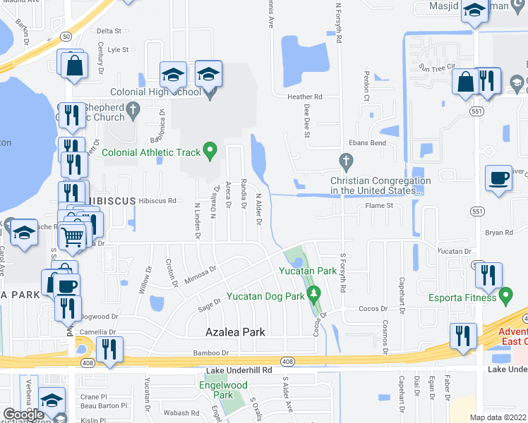 map of restaurants, bars, coffee shops, grocery stores, and more near 35 North Alder Drive in Orlando