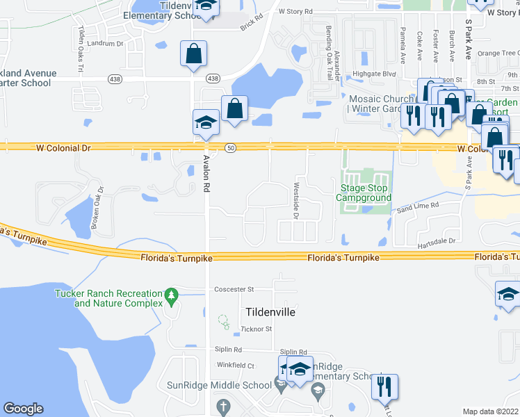 map of restaurants, bars, coffee shops, grocery stores, and more near 1201 West Pointe Villas Boulevard in Winter Garden