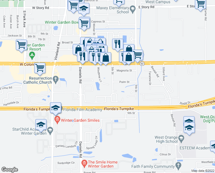 map of restaurants, bars, coffee shops, grocery stores, and more near 170 Windtree Lane in Winter Garden