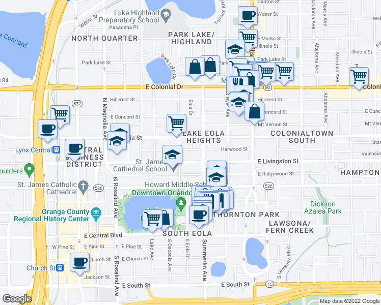 map of restaurants, bars, coffee shops, grocery stores, and more near 622 Harwood Street in Orlando