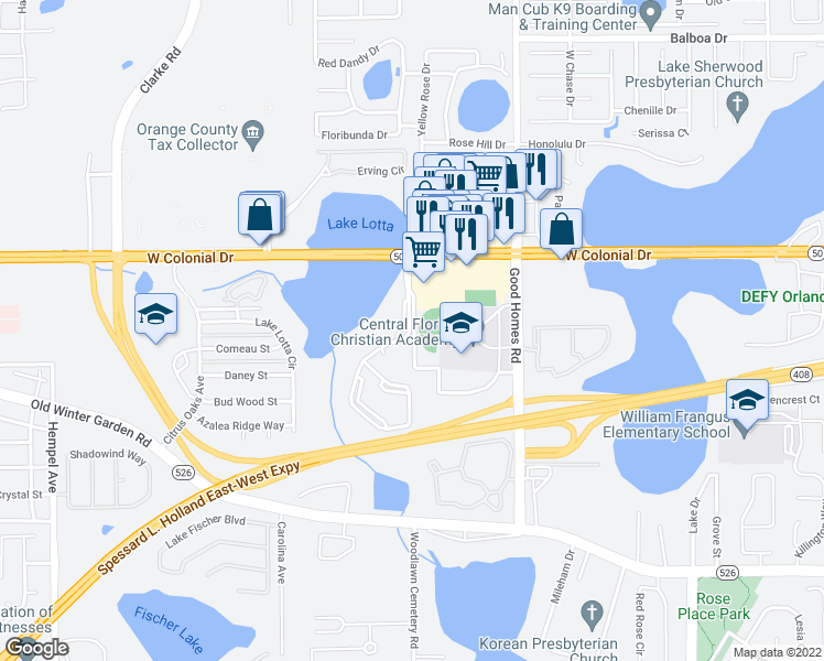 map of restaurants, bars, coffee shops, grocery stores, and more near 1012 Vizcaya Lake Road in Ocoee