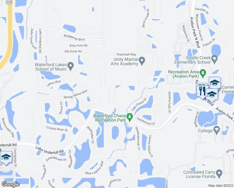 map of restaurants, bars, coffee shops, grocery stores, and more near 724 Magnolia Creek Circle in Orlando