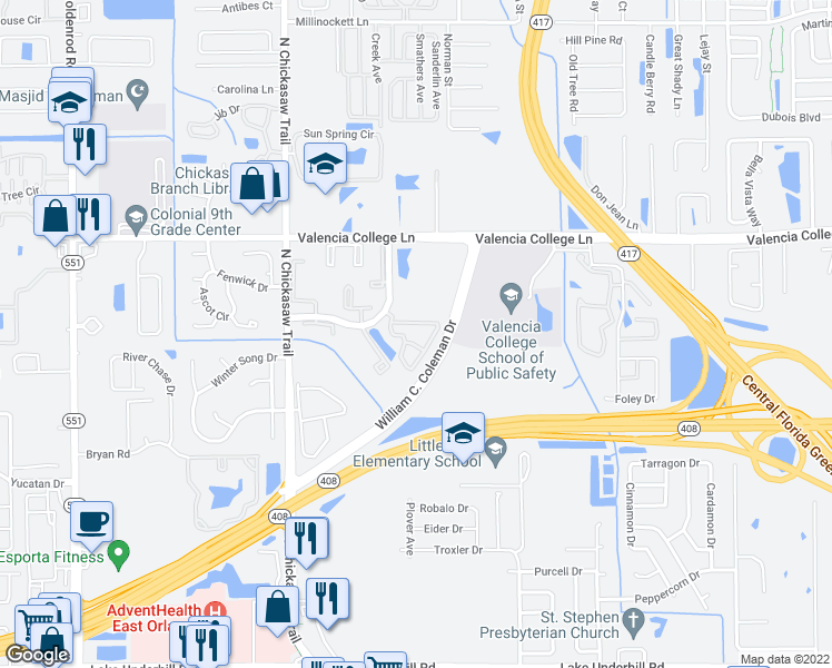 map of restaurants, bars, coffee shops, grocery stores, and more near 8100 Claire Ann Drive in Orlando