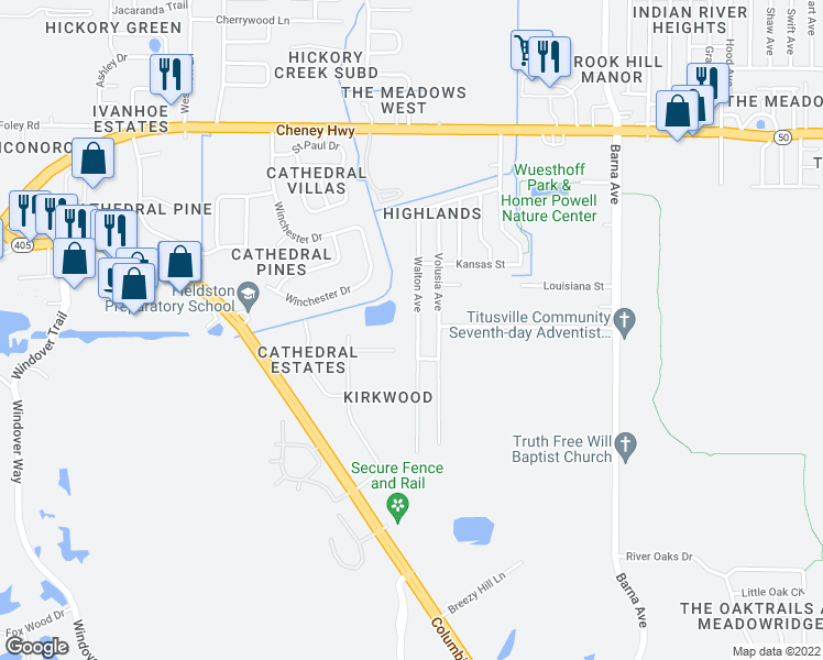 map of restaurants, bars, coffee shops, grocery stores, and more near 4990 Walton Avenue in Titusville