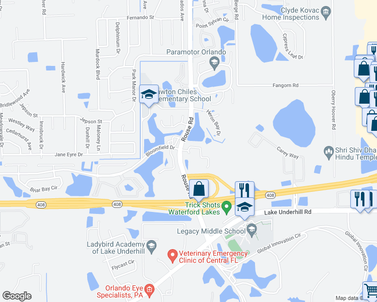map of restaurants, bars, coffee shops, grocery stores, and more near 568 Tree Shore Drive in Orlando