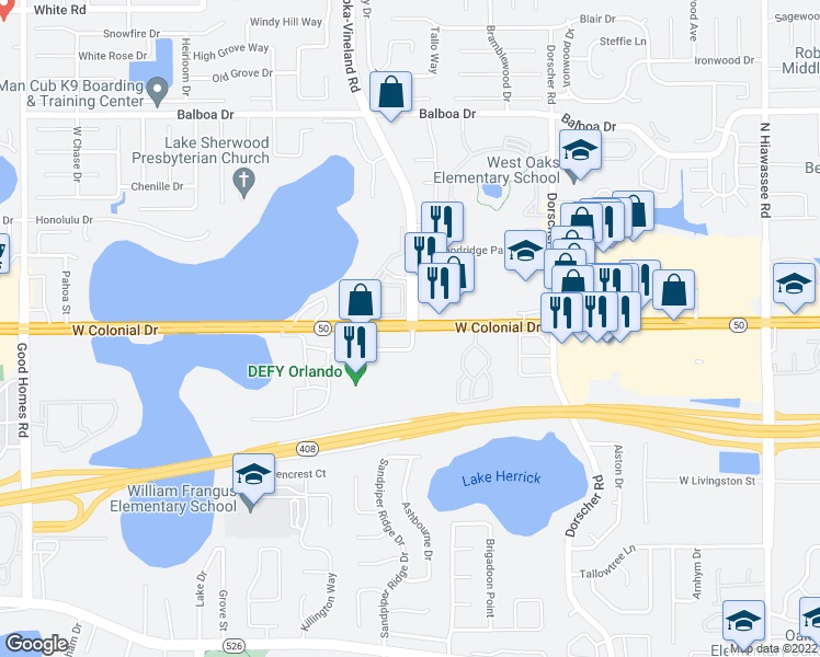 map of restaurants, bars, coffee shops, grocery stores, and more near W Colonial Dr & Apopka-Vineland Rd in Orlando