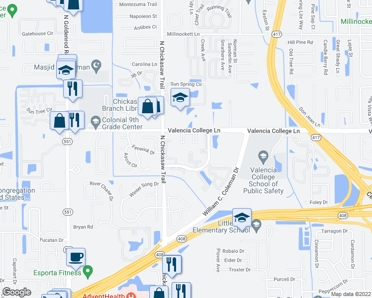 map of restaurants, bars, coffee shops, grocery stores, and more near Myrtle Lake Court in Orlando