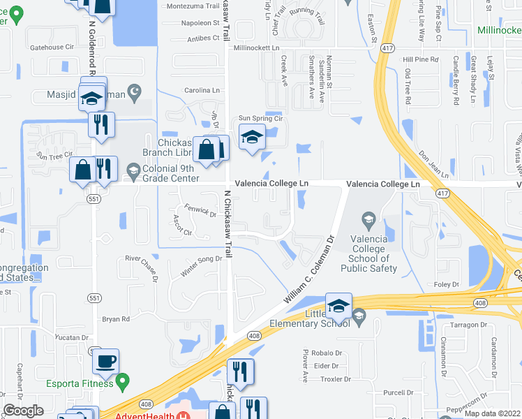 map of restaurants, bars, coffee shops, grocery stores, and more near 604 Laurel Cove Court in Orlando