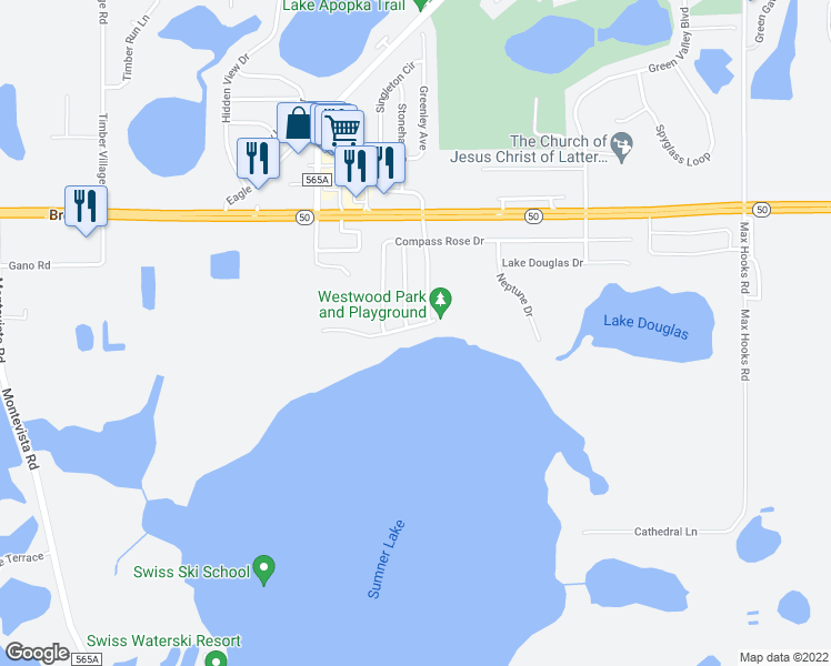 map of restaurants, bars, coffee shops, grocery stores, and more near 536 Lake Sumner Drive in Groveland