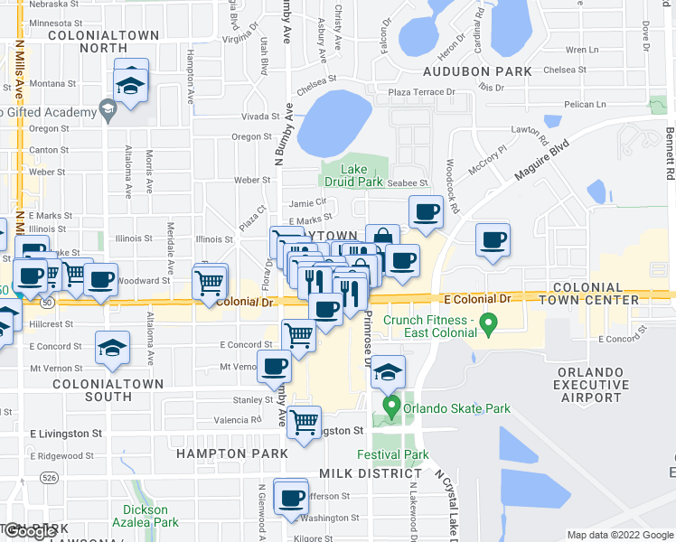 map of restaurants, bars, coffee shops, grocery stores, and more near 2614 Homer Circle in Orlando